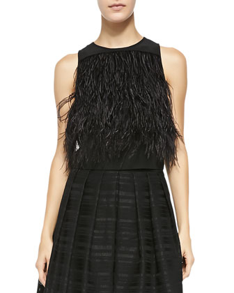 Cera Tuxedo Feathered Cropped Top, Black