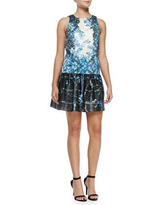 Sidewalk Floral Dropped-Waist Dress