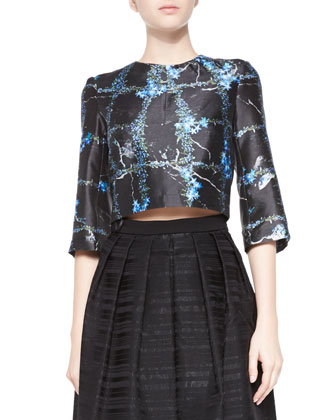 Windowpane Flowers Cropped Top