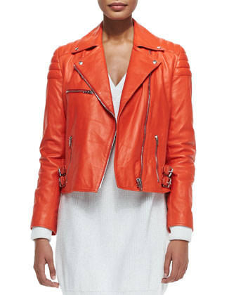 Notched-Collar Leather Biker Jacket, Fire