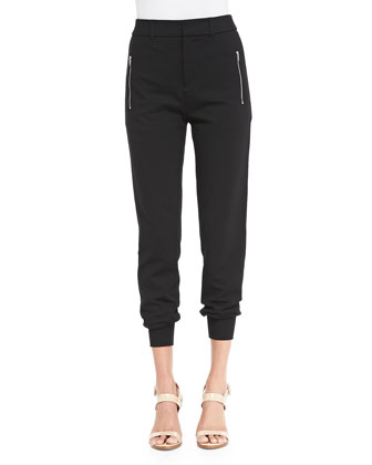 Jersey Zip-Pocket Ankle Pants