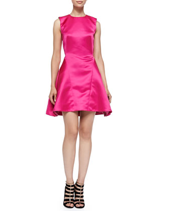Sleeveless Pleated Pouf Dress