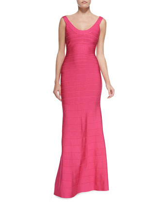 Scoop-Neck Bandage Knit Gown, Fuchsia