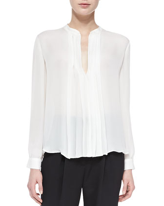 Pleated-Panel Silk Blouse