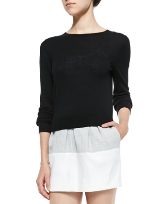 Cropped Crewneck Pullover Sweater