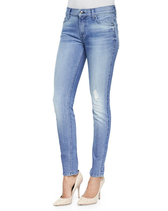 Distressed Faded Skinny Ankle Jeans, Striking Indigo