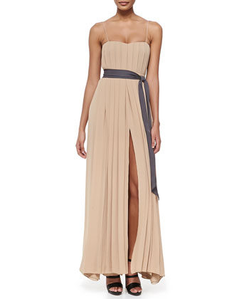 Long Pleated Spaghetti-Strap Dress