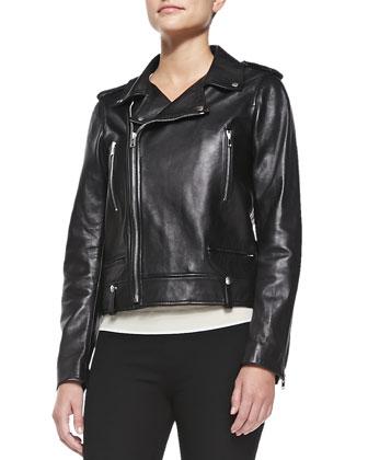 Ryder Leather Moto Jacket, Navy