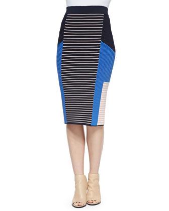 Ribbed Mixed-Knit Colorblock Skirt