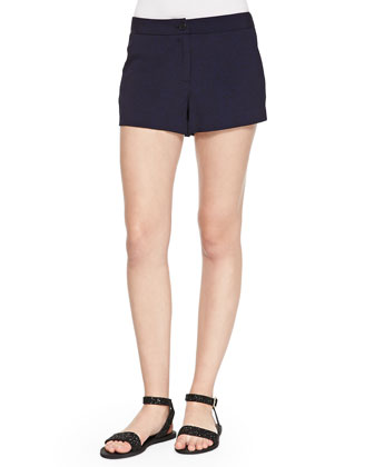 Button-Front Herringbone Shorts