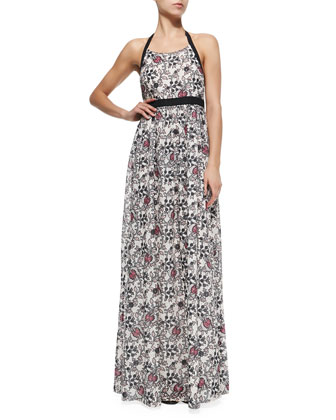 Halter-Neck Maxi Dress W/ Scroll Print