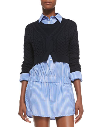 Cropped Chunky-Knit Pullover