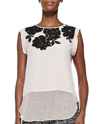 Floral-Applique Silk Top
