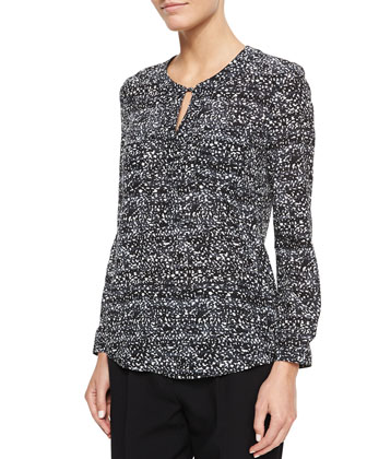 Dot-Print Long-Sleeve Blouse