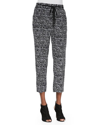 Ink-Dot-Print Cropped Drawstring Pants