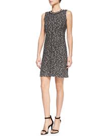 Sleeveless Textured Dress W/ Embellished Neck