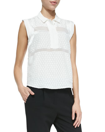Solid/Dotted/Sheer Sleeveless Blouse
