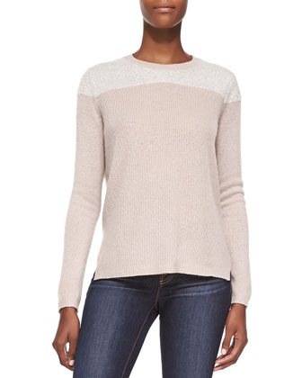 Cashmere Fuzzy-Yoke Pullover Sweater