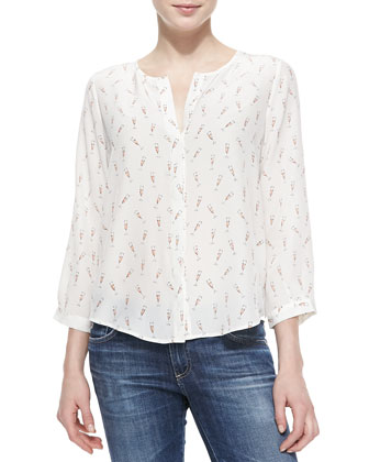 Purine Champagne Flute-Print Blouse