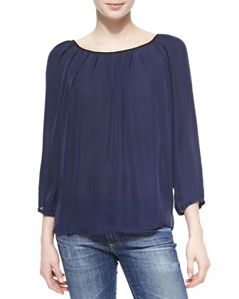 Leighanna Poet Blouse W/ Back Bow