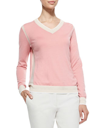 Two-Tone V-Neck Cashmere Sweater