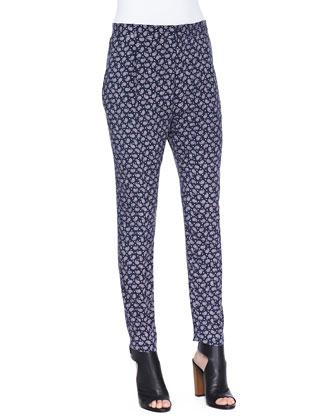 Tessa Paisley-Print Silk Pants, Navy