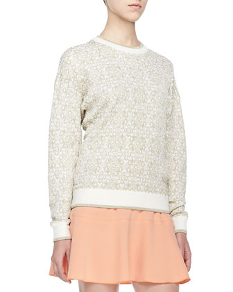 Shimmery Jacquard Pullover Sweater