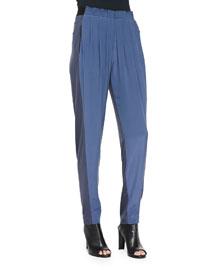 Gemma Colorblock Silk Track Pants