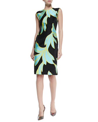 Leaf-Print Sleeveless Satin Sheath Dress