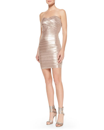 Nazik Sequin Bandage Dress, Bare Combo