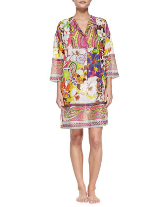 Long-Sleeve Kimono Hawaiian Paisley-Print Tunic
