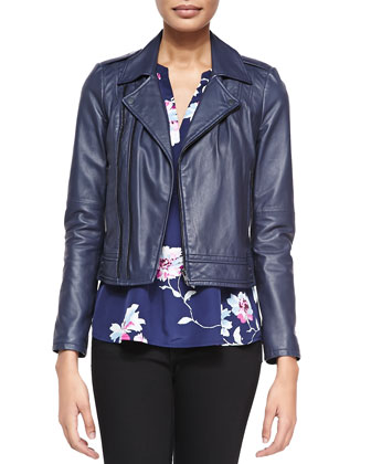 Caldine Double-Zip Leather Moto Jacket