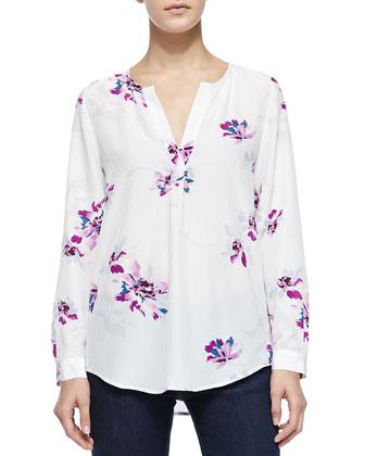 Deon B Long-Sleeve Silk Floral Blouse