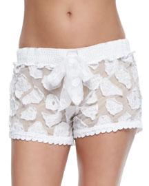Crochet Coverup Shorts, White