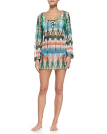 Tie-Dye Long-Sleeve Beaded Coverup