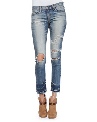 Mid-Rise Distressed & Cropped Jeans, Ensenada