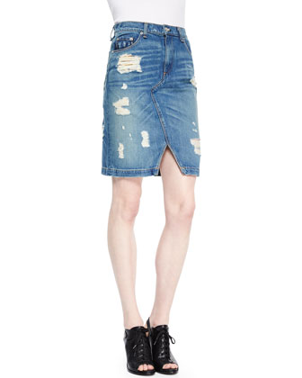 Destroyed Denim Pencil Skirt