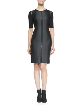 Frankie Zip-Front Dress W/ Mesh Shoulders