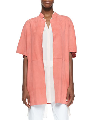 Delilah Short-Sleeve Suede Jacket, Peach