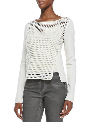 Jacqueline Mesh-Front Sweater