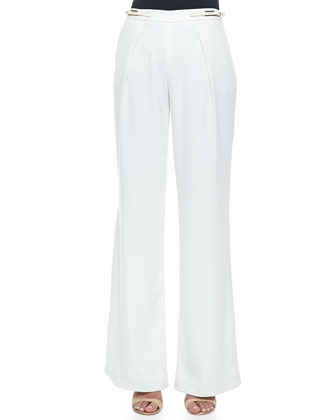 Wide-Leg Trousers with Buckle Tabs