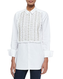 Emmanuelle Tux Shirt with Beaded Bib