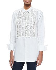 Emmanuelle Tux Shirt with Beaded Bib