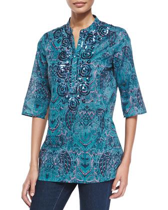 Jasmine Batik-Print 3/4-Sleeve Tunic