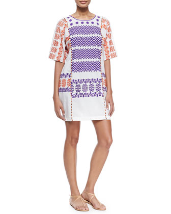 Luz Half-Sleeve Embroidered Cotton Dress