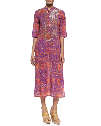 Thandie Beaded Batik-Print Caftan Dress