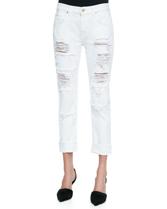 Destroyed Patch Relaxed Slim Jeans, White
