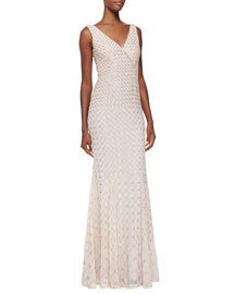 Willow V-Neck Embellished Georgette Gown, Powder