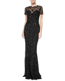 Elaine Beaded-Lace Gown W/ Short Sleeves