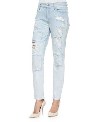 Destroyed/Patchwork Slim Jeans
